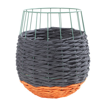 Marie Fluo Rounded Basket - Dark Gray/Orange