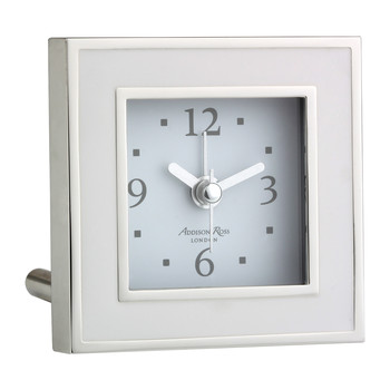 Square Alarm Clock - White Enamel