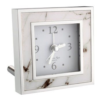 Square Alarm Clock - White Marble