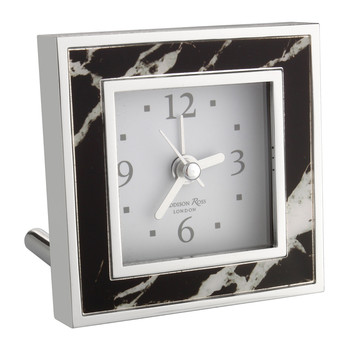 Square Alarm Clock - Black Marble
