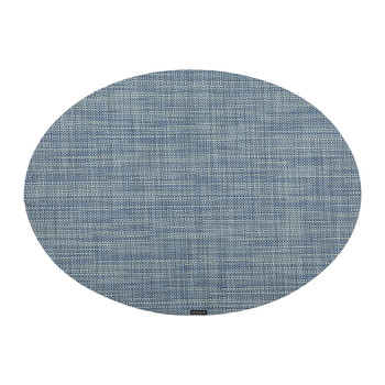 Mini Basketweave Oval Placemat - Chambray