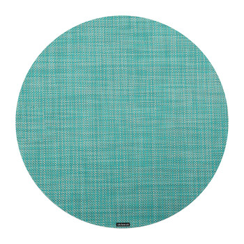 Mini Basketweave Round Placemat - Turquoise