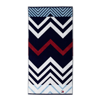 Velvet Zig Zag Beach Towel - White