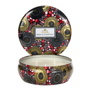 Japonica 3 Wick Candle - Ebony & Stone Fruit