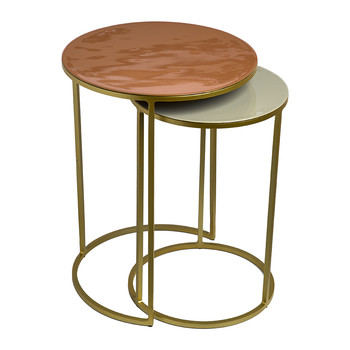Enamel Side Table - Set of 2 - Pink/Beige