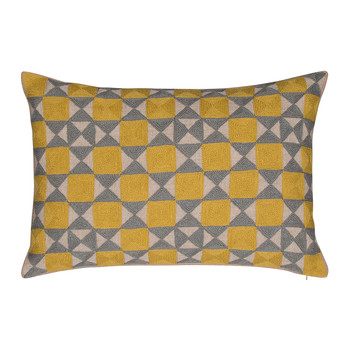Zellij Cushion - 40x60cm - Ash Grey & Chartreuse