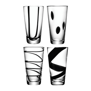 Verres Longs Jazz Noir Assortiment - Lot de 4