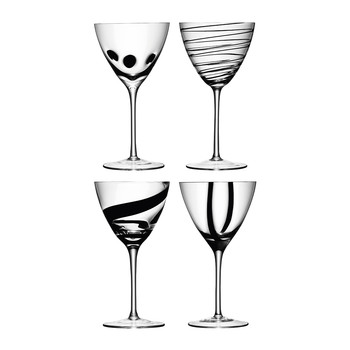 Jazz Black Assorted Wine Goblets - Set of 4