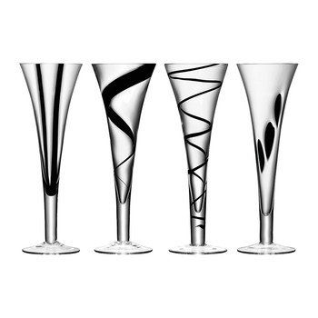 Jazz Black Assorted Champagne Flutes - Set of 4