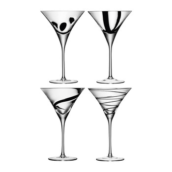 Jazz Black Assorted Cocktail Glasses - Set of 4