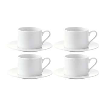 Dine Tea/Coffee Cups & Saucers - Set of 4
