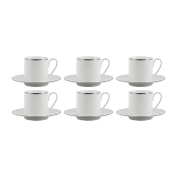 Lizzard Espresso Cups & Saucers - Set of 6 - Platinum