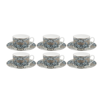 Platinum Palazzo Pitti Tea Cups & Saucers - Set of 6