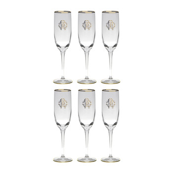 Monogram Champagne Goblets - Set of 6 - Gold