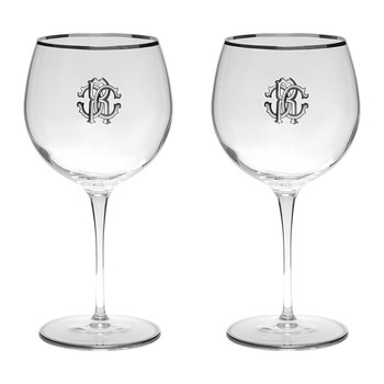 Monogram Large Wine Glasses - Set of 2 - Platinum
