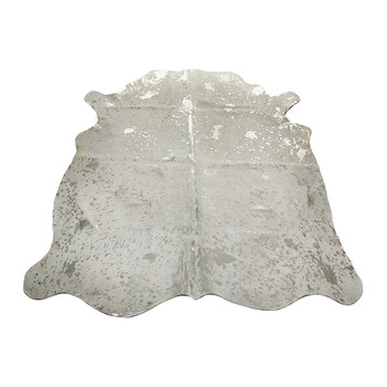 Acid Burnt Cowhide Rug - White/Silver