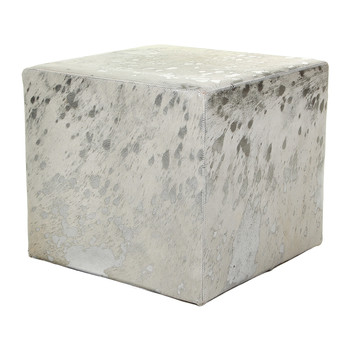 Acid Burnt Cowhide Cube Pouf - White / Silver
