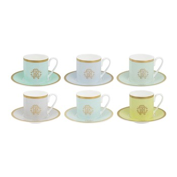 Lizzard Espresso Cups & Saucers - Set of 6 - Sunrise