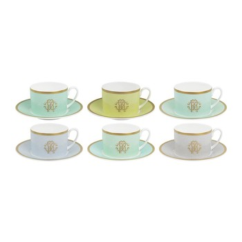 Lizzard Teacups & Saucers - Set of 6 - Sunrise