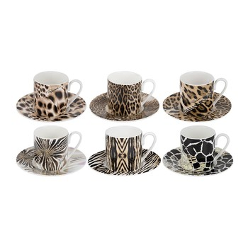 Africa Espresso Cups & Saucers - Set of 6
