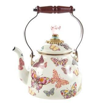 Butterfly Garden Enamel Tea Kettle - White