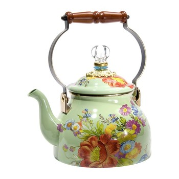 Flower Market Enamel Tea Kettle - Green