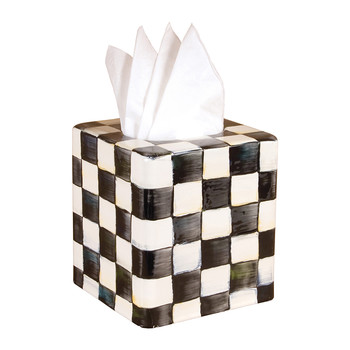 Courtly Check Enamel Tissue Box Cover
