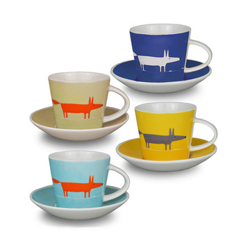 Mr Fox Espresso Cup and Saucers - Set of 4
