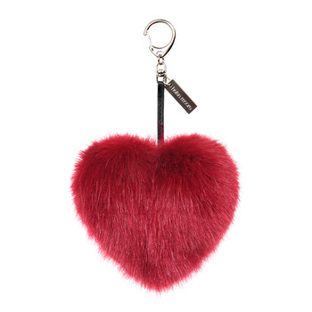 Faux Fur Heart Keyring - Crimson