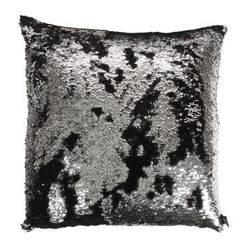 Two Tone Mermaid Sequin Cushion - Black/Silver - 50x50cm