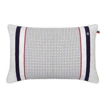 Navy & White Satin Cushion