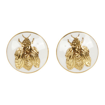 The Napoleon Bee Cufflinks - White