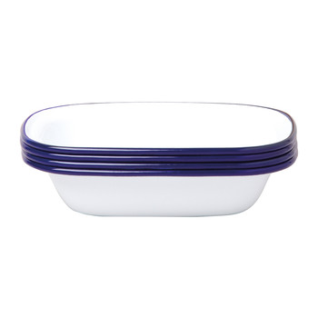 Pie Dishes - Set of 4 - Original White with Blue rim