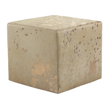 Acid Burnt Cowhide Cube Pouf - Beige/Bronze