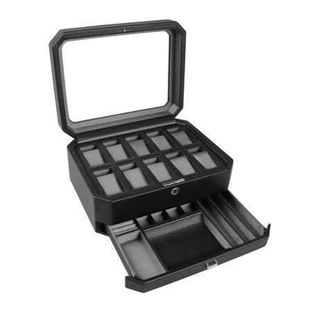 Wolf - 10 Piece Watch Box with Drawer - Black/Gray