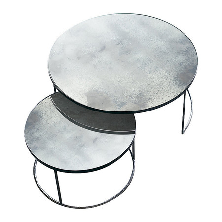Notre Monde - Heavy Aged Mirror Coffee Table Set - Round - Clear