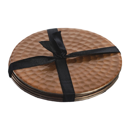 The Just Slate Company - Flat Hammered Copper Coasters - Set of 4