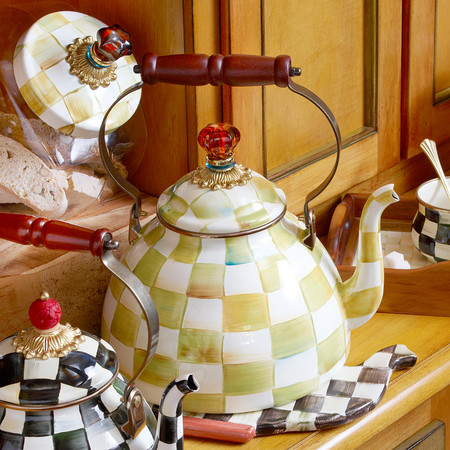 MacKenzie-Childs - Parchment Check Enamel Tea Kettle - Small