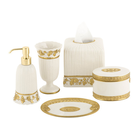 Villari - Impero Oval Box - White & Antique Gold