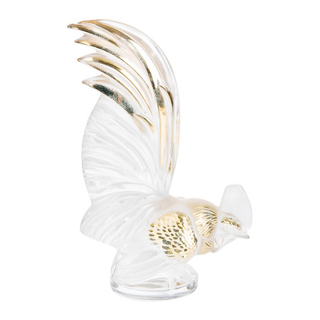 Lalique - Bantam Rooster Paperweight - Gold Stamped