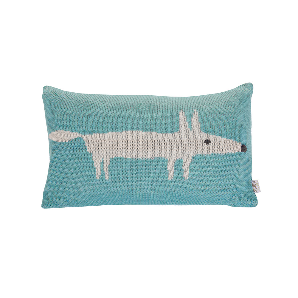 Scion  Mr Fox Knitted Cushion  30x50cm  Lagoon