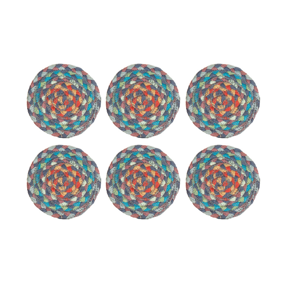 The Braided Rug Company - Coasters Set of 6 - Carnival Blue