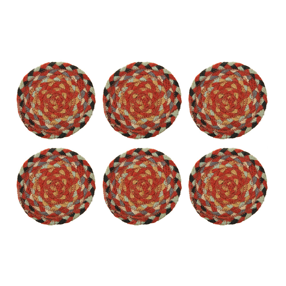 The Braided Rug Company - Coasters Set of 6 - Chilli