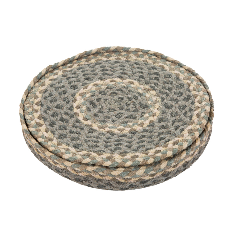 The Braided Rug Company - Rope Round Placemats - Set of 6 - Pebble Pale