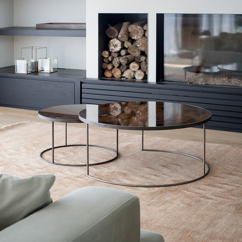& Buy Notre Monde Heavy Aged Mirror Coffee Table Set - Round | Amara