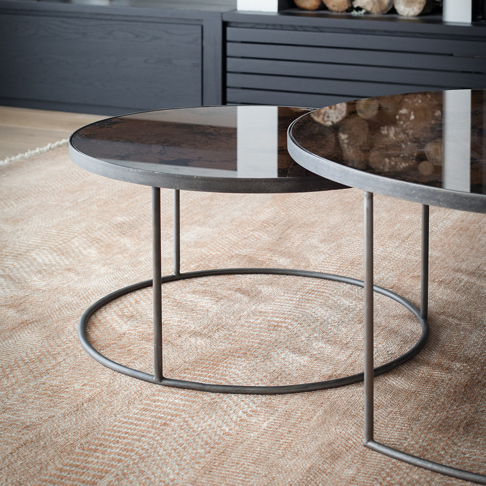 Mirrored Circle Coffee Table: Buy Notre Monde Heavy Aged Mirror Coffee Table Set