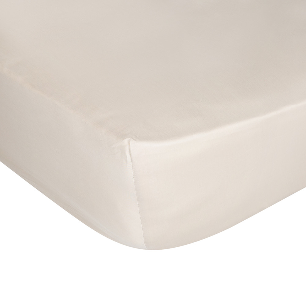 A by Amara  Cotton Sateen 300 Thread Count Fitted Sheet  Gold  Double