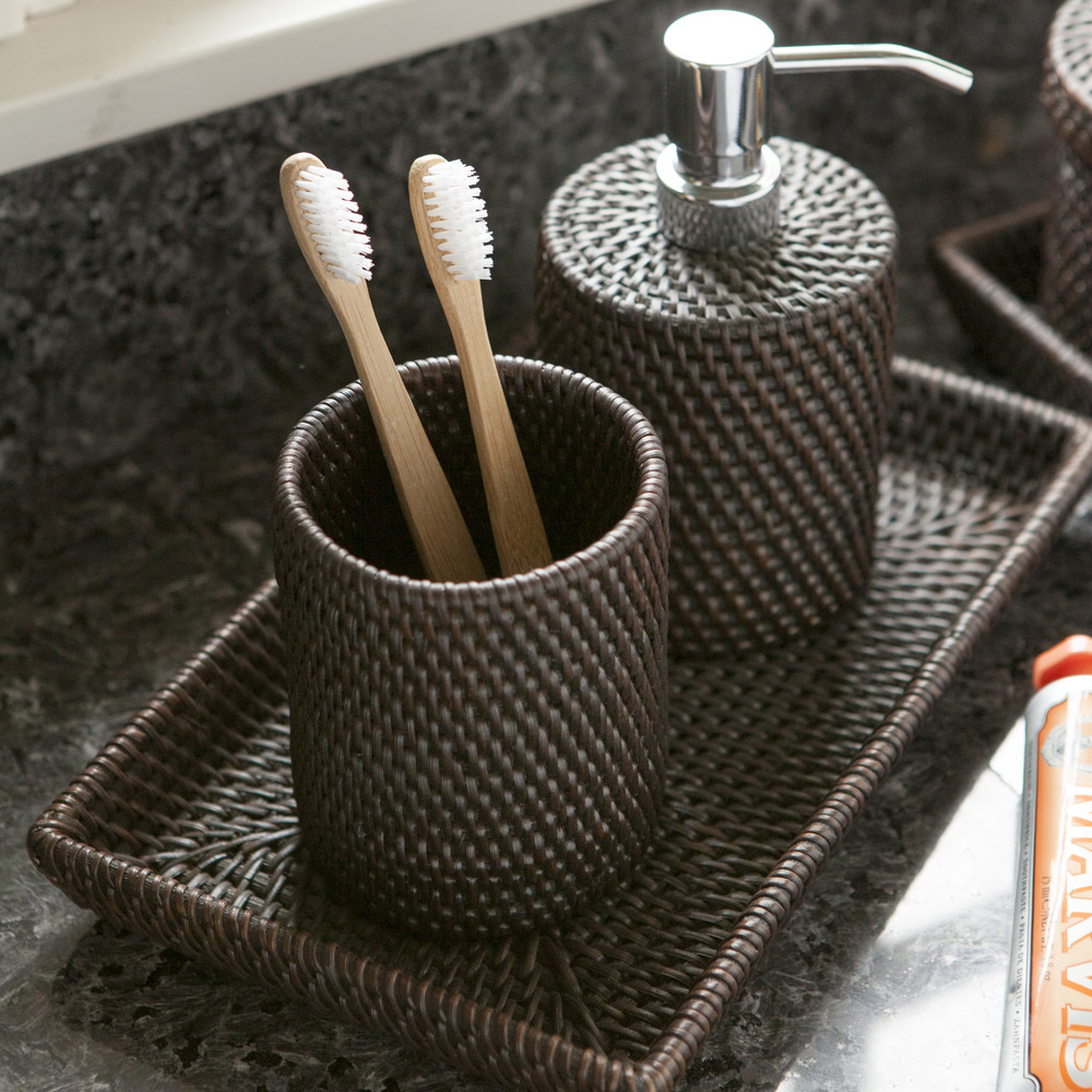Pigeon & Poodle - Dalton Rattan Toothbrush Holder - Coffee