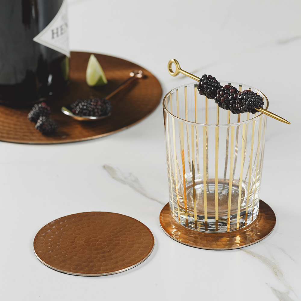 VG Handcrafted Accessories Set of 20 100/% Pure Copper Coasters with Hammered Finish for Home I Office I