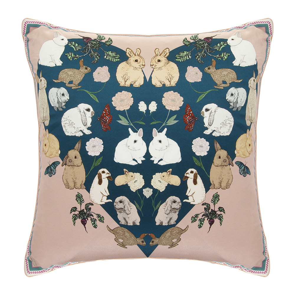 Silken Favours - Bashful Bunnies Cushion - 42x42cm